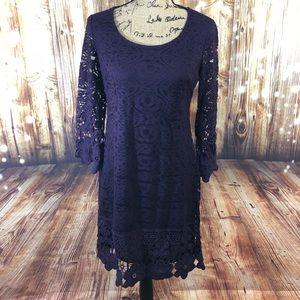 Alfani Purple crochet dress size xsmall